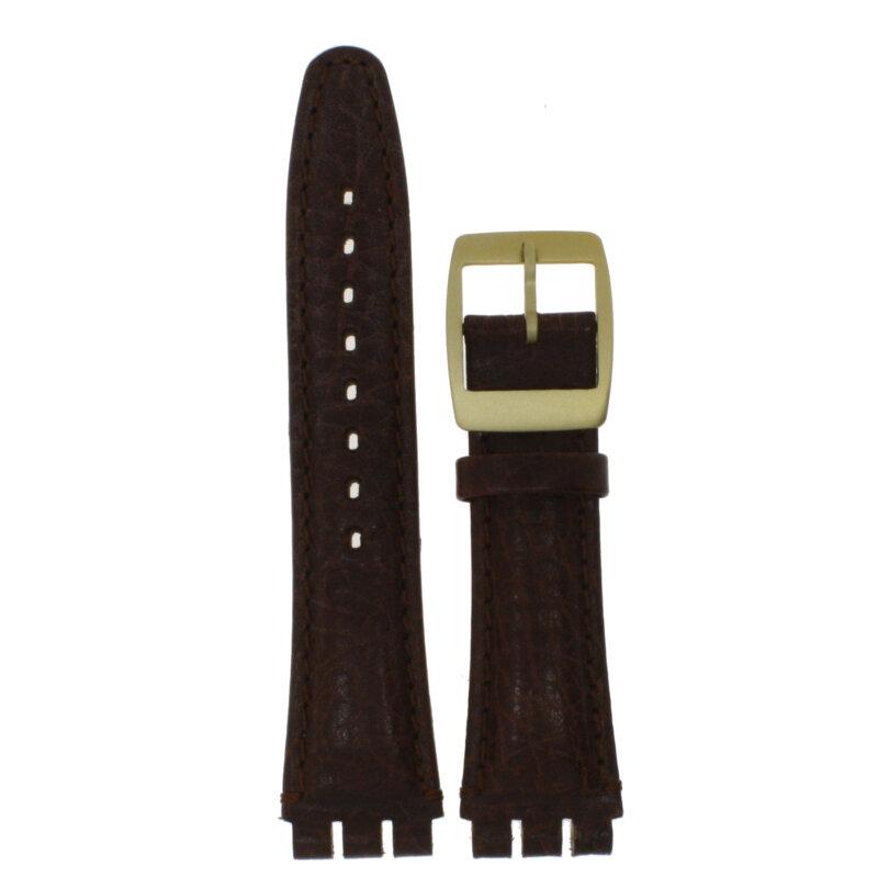 Ersatzarmband für Swatchuhren Leder braun 19 mm