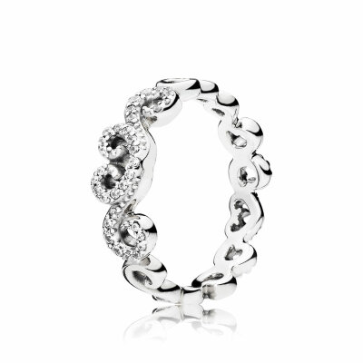PANDORA Ring 197117CZ Heart Swirls