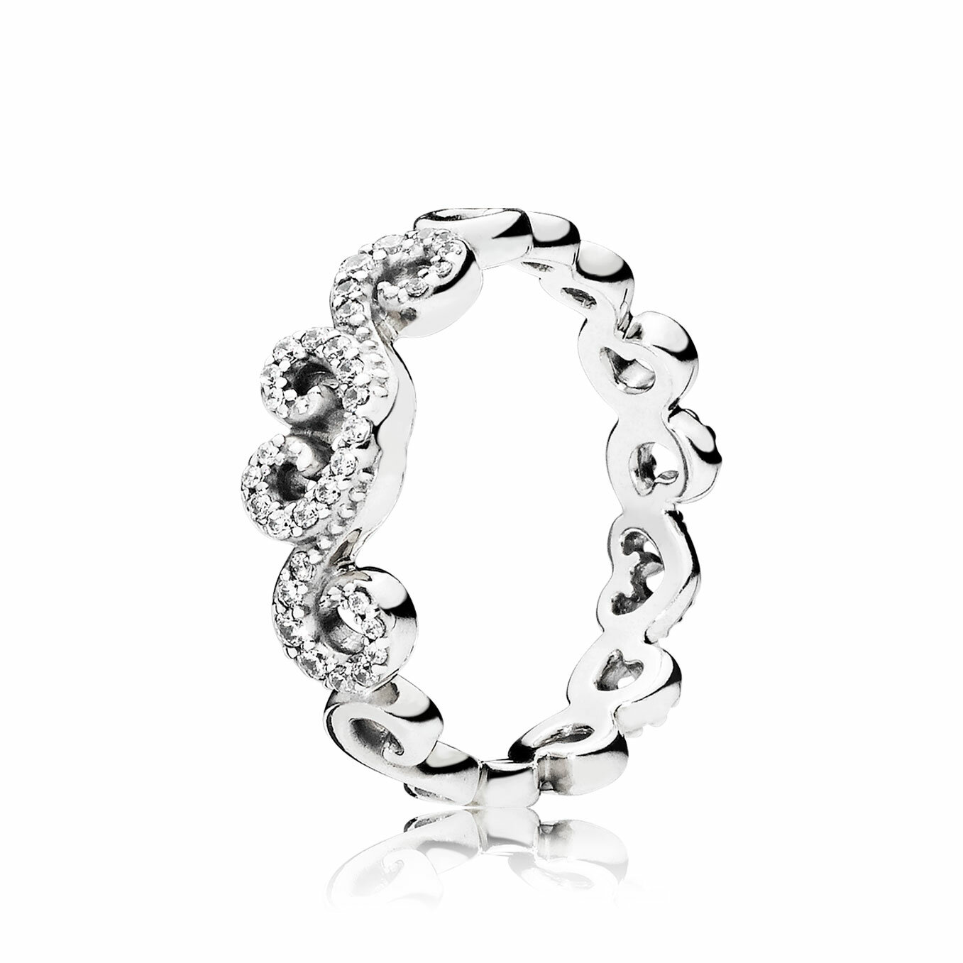 PANDORA Ring 197117CZ-56 Heart Swirls
