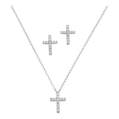 CEM Set Halskette und Ohrstecker Kreuz BGT906200