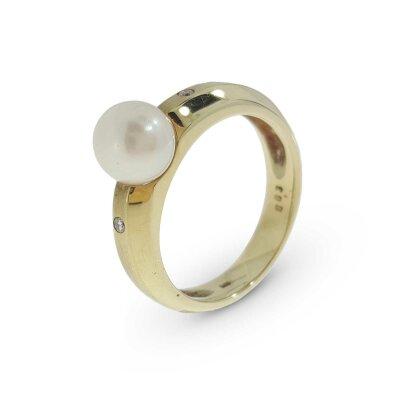 Kettler Perlenring in GG Gold 585 14 Karat...