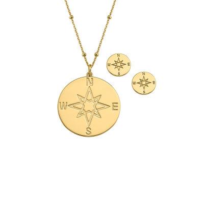 CEM Schmuckset Kompass 925/- Sterlingsilber IP gelbgold...
