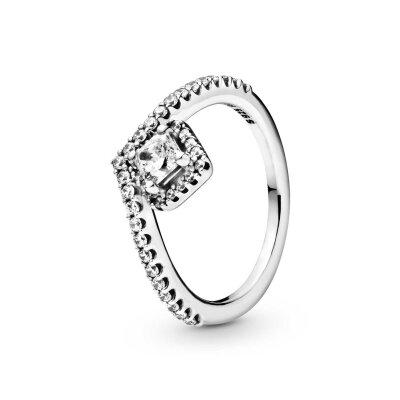 PANDORA Ring 198420C01 Square Sparkle Wishbone