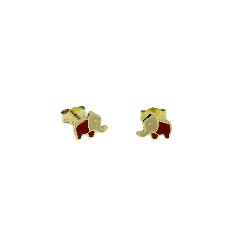 Kinder-Ohrstecker 333/- GG Elefant rot 16698