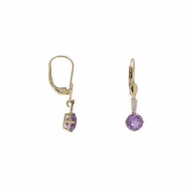 Goldohrhänger mit Amethyst und Diamant