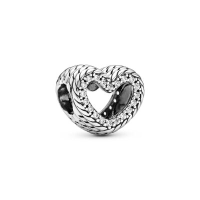 PANDORA Charm 799100C01 Snake Chain Pattern Open Heart