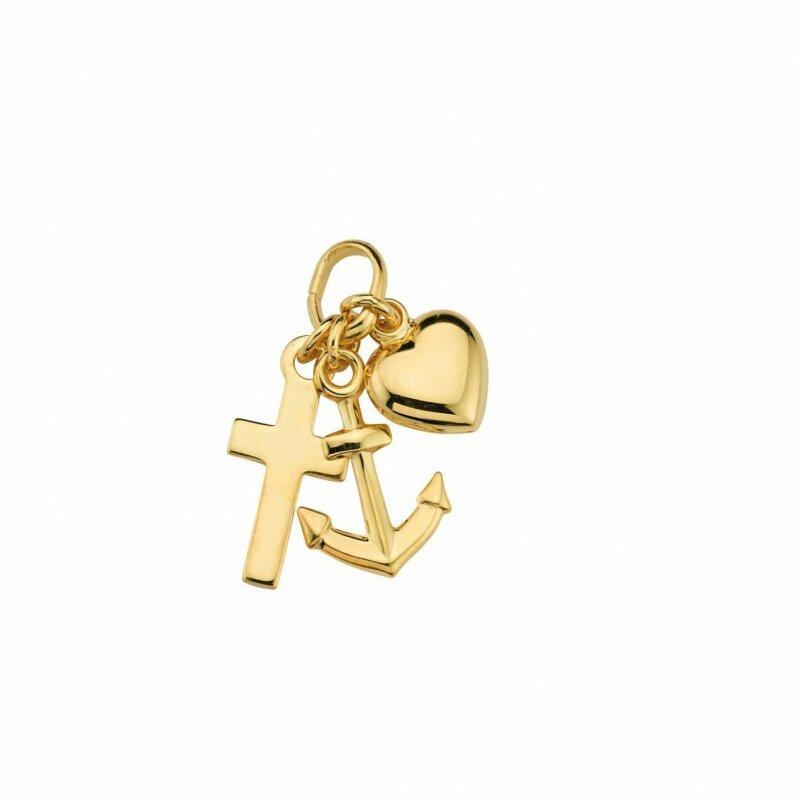 CEM Glücksanhänger mit Herz, Kreuz und Anker Gelbgold 333/- Größe ca. 13 mm BAH302970