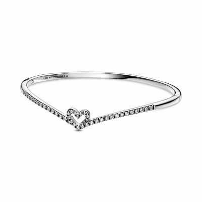 PANDORA Armreif Sparkling Wishbone Heart 599297C01-3...