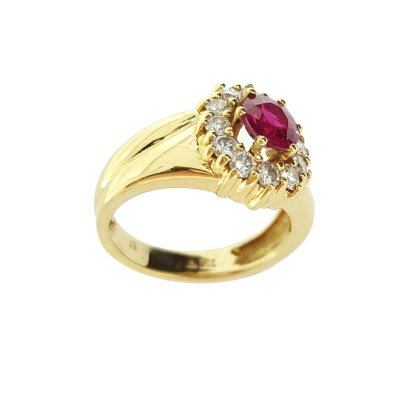 Kettler Rubinring 750/- Gelbgold Gr. 50 21400