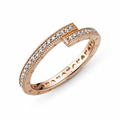 PANDORA ROSE Ring 189491C01 Sparkling Overlapping