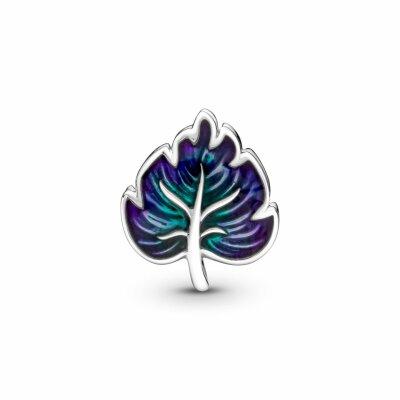 PANDORA Charm 799542C01 Purple & Green Leaf