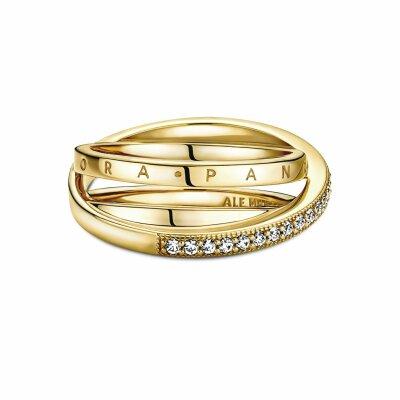 PANDORA Ring 169057C01 Crossover Pave Triple