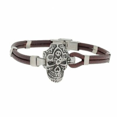 Clochard Fashion Unisex-Armband 21 cm Leder Totenkopf...