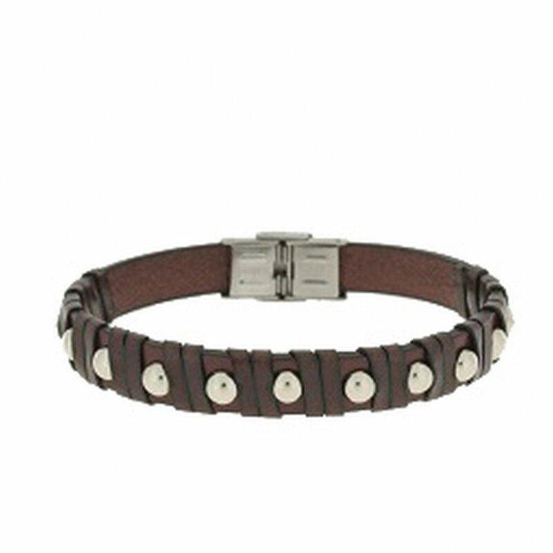 Clochard Fashion Unisex-Armband 21 cm Leder braun mit Nieten BA5942/MA