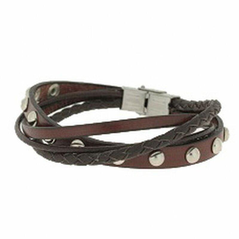 Clochard Fashion Unisex-Armband 20 cm 4 Lederbänder braun mit Nieten BA5704/MA