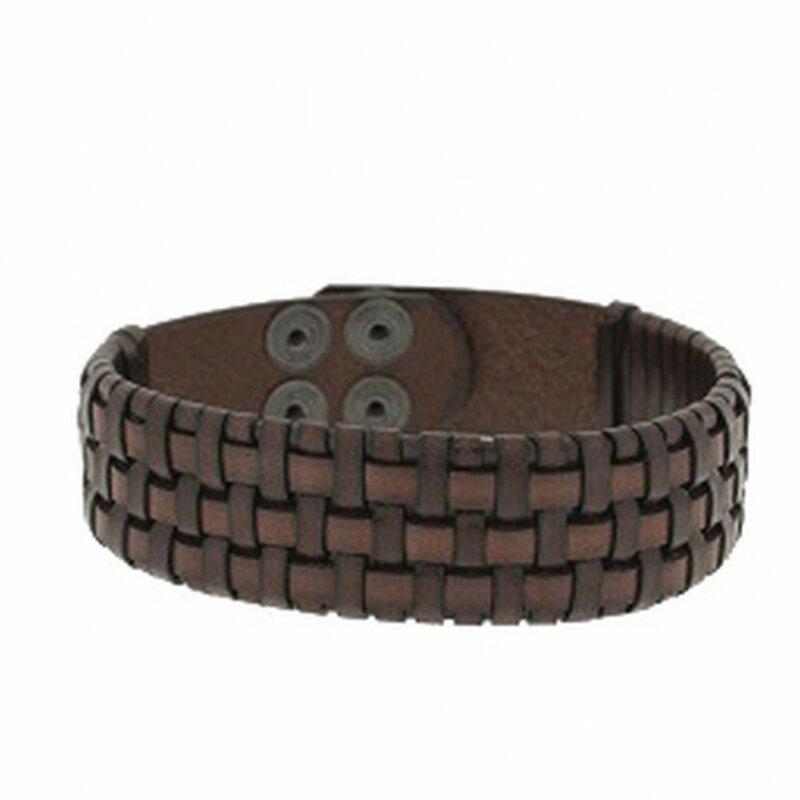 Clochard Fashion Unisex-Armband 21 cm Lederband braun geflochten BA5806/MA
