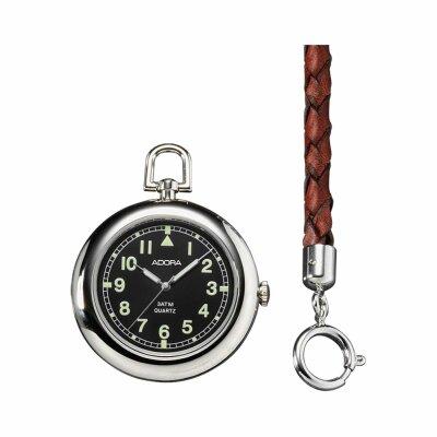 Adora Taschenuhr offen 1-021616-001 mit Lederkette und Etui