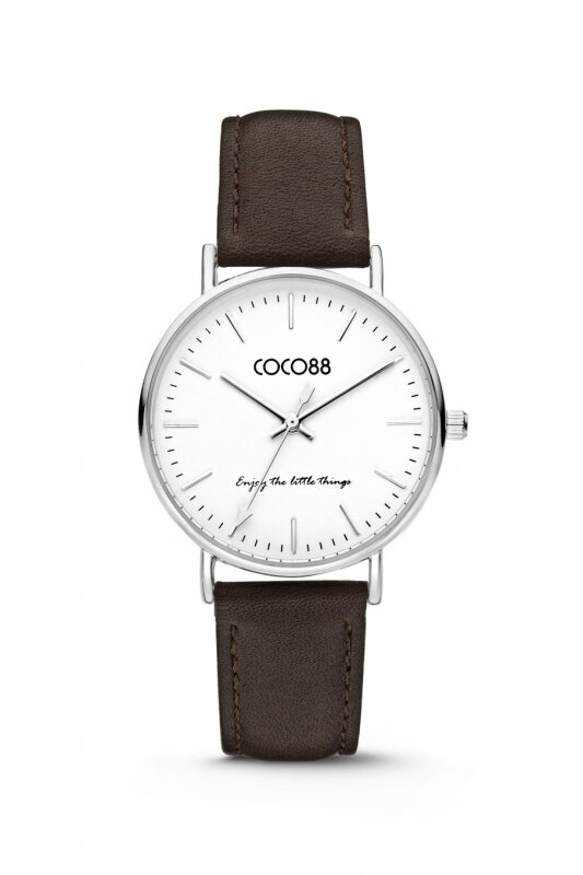 COCO88 Damenuhr 8CW-10004 mit Lederband, Ziffernblattfarbe:weiß, Gehäusefarbe:silber, Armbandfarbe:Dunkelbraun