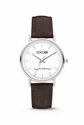 COCO88 Damenuhr 8CW-10004 mit Lederband,...
