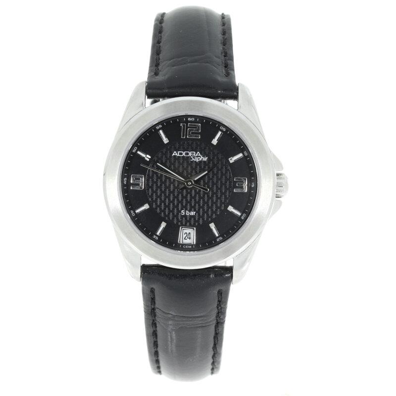 Adora Damenuhr mit Saphirglas und Lederband ZB schwarz1-113253-001